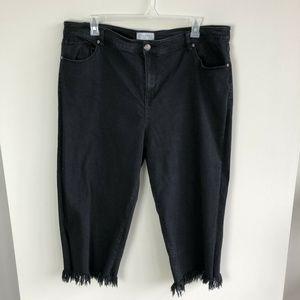 Eloquii black fringe skinny crop jeans size 24W
